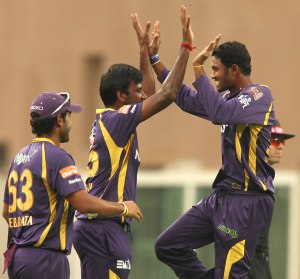 Sachitra celebrates a wicket