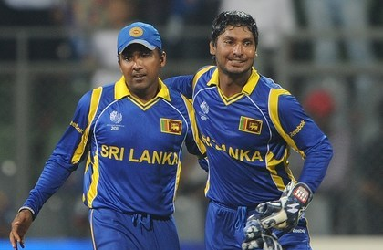 Sri Lankan captain Kumar Sangakkara (R)
