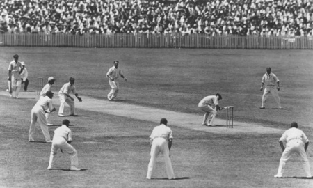 W M Woodfull of Australia ducks to avoid a rising ball from Harold Larwood of England during the Fourth Test match at Brisbane on the infamous 'Bodyline' Tour of Australia.   (Photo by Central Press/Getty Images)