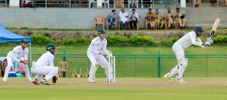 Wayanad: India-A team's Axar Patel bats against South Africa-A team during their test match at Krishnagiri Cricket Stadium in Wayanad on Thursday. PTI Photo (PTI8_27_2015_000276B)