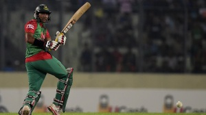 Bangladesh cricketer Soumya Sarkar plays a shot during the third ODI (One Day International) cricket match between Bangladesh and India at the Sher-e-Bangla National Cricket Stadium in Dhaka on June 24, 2015. AFP PHOTO/Munir uz ZAMAN        (Photo credit should read MUNIR UZ ZAMAN/AFP/Getty Images)