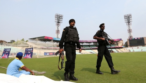 KOLKATA, INDIA - MARCH 13: Heavy security presence during a Pakistan training session at Eden Gardens on March 13, 2016 in Kolkata, India. (Photo by Jan Kruger-IDI/IDI via Getty Images)