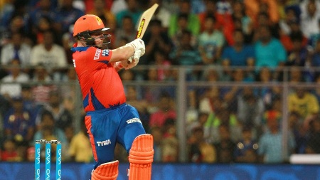 Gujarat Lions player Aaron Finch plays a shot during match 9 of the Vivo Indian Premier League ( IPL ) 2016 between the Mumbai Indians and the Gujarat Lions held at the Wankhede Stadium in Mumbai on the 16th April 2016 Photo by Vipin Pawar/ IPL/ SPORTZPICS