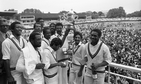Clive Lloyd and the victorious West Indies team at Lord's after winning the 1979 World Cup