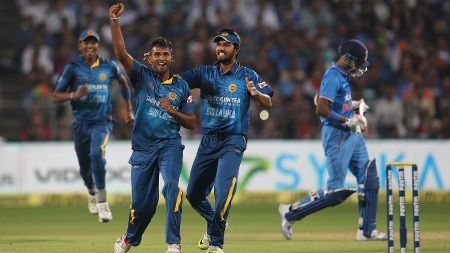 Dasun Shanaka of Sri Lanka celebrates the wicket of Hardik Pandya of India during the first Paytm T20 Trophy International match between India and Sri Lanka held at the MCA Cricket Stadium in Pune on the 9th February 2016 Photo by: Ron Gaunt / BCCI / Sportzpics