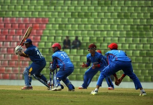 Charith Asalanka plays a shot