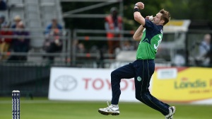 Dublin , Ireland - 16 June 2016; Boyd Rankin of Ireland in action during the One Day International match between Ireland and Sri Lanka at Malahide Cricket Ground in Malahide, Dublin. (Photo By Seb Daly/Sportsfile via Getty Images)