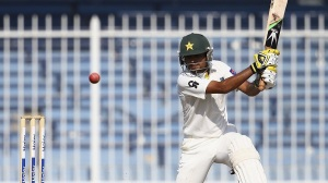 SHARJAH, UNITED ARAB EMIRATES - OCTOBER 17:Babar Azman of Pakistan A bats  during day three of the tour match between Australia and Pakistan A at Sharjah Cricket Stadium on October 17, 2014 in Sharjah, United Arab Emirates.  (Photo by Francois Nel/Getty Images)