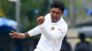 Sri Lankan cricketer Milinda Siriwardana celebrates after dismissing West Indies Cricketer Jermaine Blackwood during the final day of their second Test cricket match between Sri Lanka and the West Indies at the P. Sara Oval Cricket Stadium in Colombo on October 26, 2015. AFP PHOTO/ Ishara S. KODIKARA        (Photo credit should read Ishara S.KODIKARA/AFP/Getty Images)