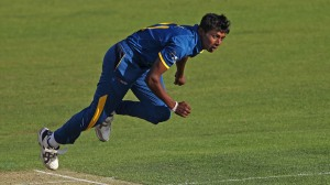 CANTERBURY, ENGLAND - AUGUST 16: Thilan Prashan of Sri Lanka U19 bowls during the Royal London One-Day Series match between England U19 v Sri Lanka U19 on August 16, 2016 in Canterbury, England. (Photo by Sarah Ansell/Getty Images).