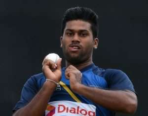 Sri Lankan cricketer Lahiru Kumara delivers a ball during a practice session at The Rangiri Dambulla International Cricket Stadium in Dambulla on August 30, 2016. / AFP / ISHARA S.KODIKARA (Photo credit should read ISHARA S.KODIKARA/AFP/Getty Images)