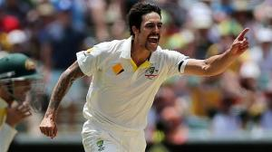 5.12.2013 - Ashes 2nd Test, Australia v England, Adelaide Oval - Day 3 Mitchell Johnson celebrates his 5th wicket that of Graeme Swann caught Clarke.