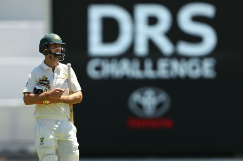 PERTH, AUSTRALIA - NOVEMBER 07: Mitch Marsh of Australia looks dejected after being dismissed by Kagiso Rabada of South Africa after a DRS referal during day five of the First Test match between Australia and South Africa at WACA on November 7, 2016 in Perth, Australia. (Photo by Ryan Pierse - CA/Cricket Australia/Getty Images)