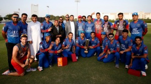 Pic by Chris Whiteoak/whiteoakpictures Cricket: UAE v Afghanistan, ICC Cricket Academy, Dubai. Afghanistan receive the trophy  © Picture Copyright >> Christopher Whiteoak  >> 0558117530