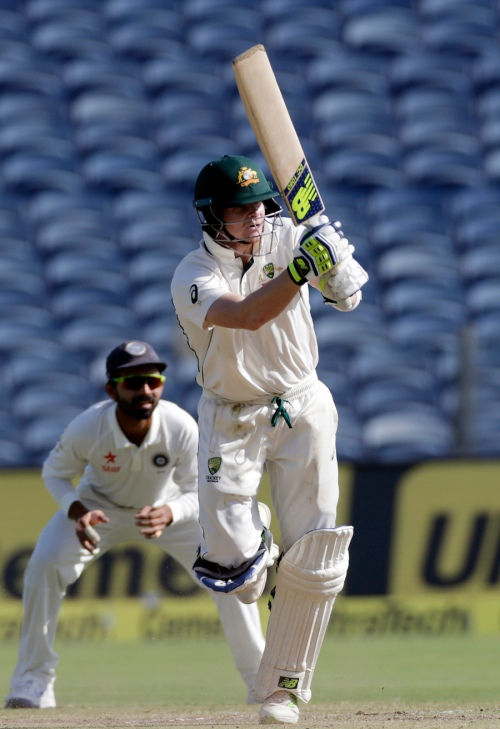 Australia's captain Steve Smith bats during Third day of the first cricket test match against India in Pune, India, Saturday, Feb. 25, 2017. (AP Photo/Rajanish Kakade)